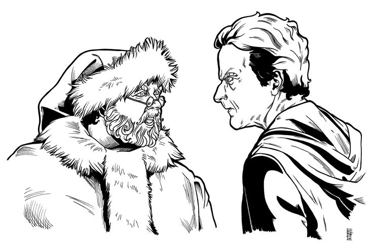 """ [...] But I promise, before this Christmas Day is done, you will be glad of my help.""    Doctor Who - Santa Claus & Twelfth.  Inks, 2017  #inks #comicbookstyle #doctorwho #lastchristmas #nickfrost #santaclaus #twelfth #stevenmoffat #petercapaldi #twelfthdoctor #fanarttraditionalart #art"