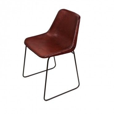 Giron Brown Leather Chair  I think this is the real deal. Not plastic
