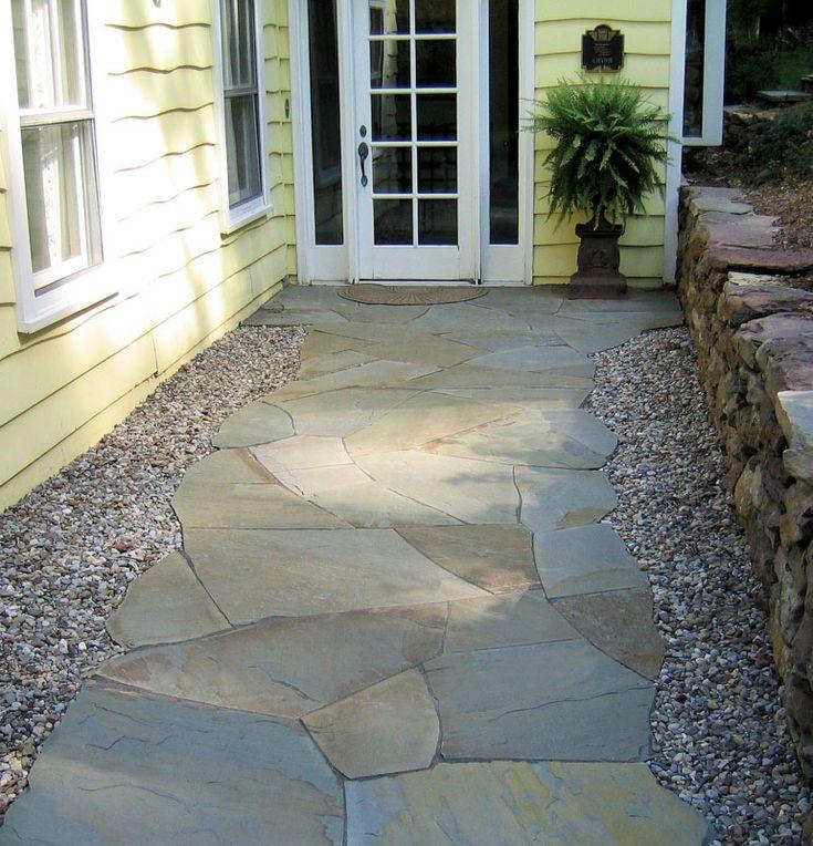 irregular bluestone walkway  Fieldstone in 2019  Bluestone patio Flagstone patio Stone walkway