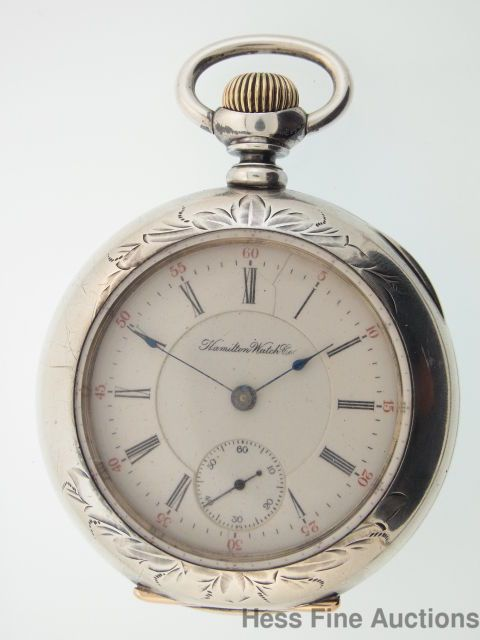 Massive 63mm 1909 Sterling Silver Hamilton Pocket Watch Union Special Gold Screw #Hamilton
