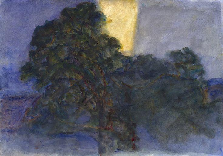 Deux fois septième Grand Chêne le soir - Alexandre Hollan (acryl sur toile 70x90cm)