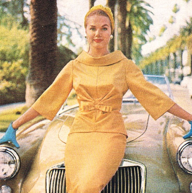 50's luxury yellow suit dress hat color photo print model magazine 50s 60s