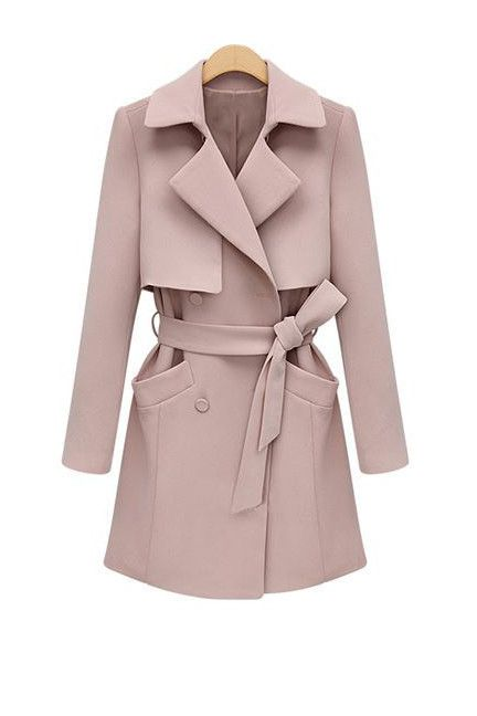 Pastel Pink Structured Trench Coat