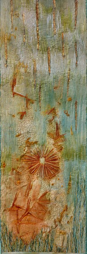 "Wendy Feldberg  ""Garden Cloth 1"" 2009. Rust print and hand-dye on cotton; free machine embroidery; appliqué; foiling."
