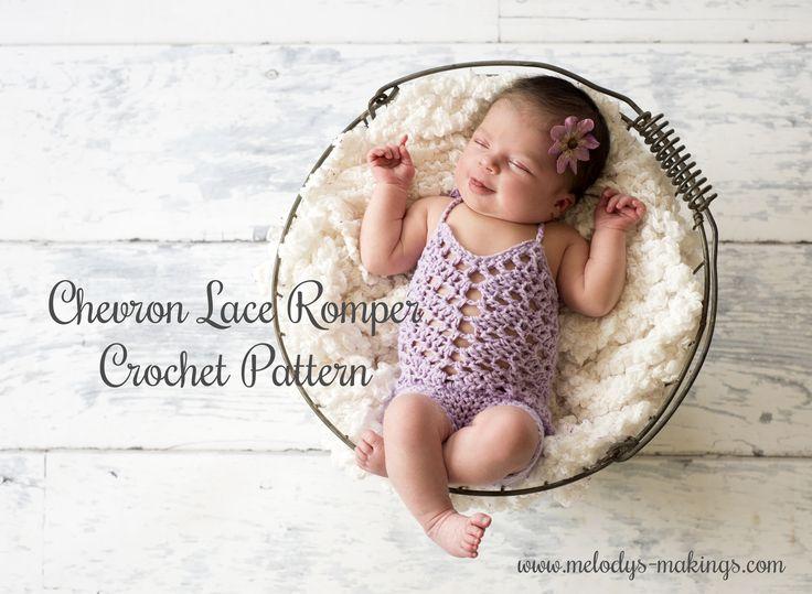 Chevron Lace Romper Crochet Pattern - #free #crochet