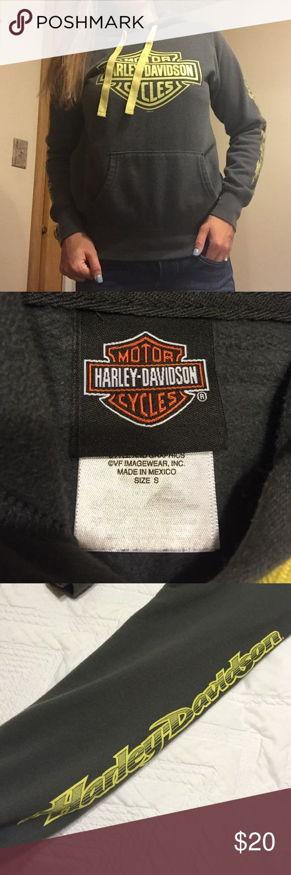 Women's Harley Davidson sweatshirt Women's Small fitted Harley Davidson grey and yellow sweatshirt. From the La Crosse Area Harley Davidson in Onalaska WI. Picture 3 is what is printed down both sleeves and picture 4 is back of sweatshirt Harley-Davidson Tops Sweatshirts & Hoodies