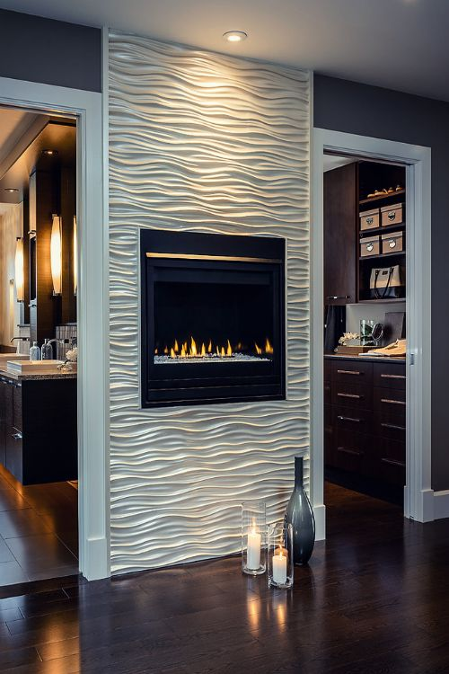 bedroom accent wall modern gass fireplace with white or silver textured wall modern fireplace design ideas - Fireplace Design Ideas With Tile