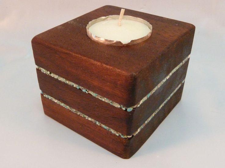 Mahogany & Inlaid Turquoise Candleholder Southwestern Rustic Solid Wood New #AristonZoe