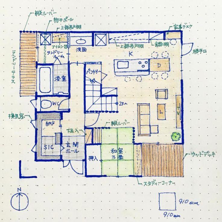 . #kazuhaマイホームプランニング . #南玄関 で間取りを書いてみました❣️約18坪。 . ランドリールーム⇨SICの動線の考え方やめて、 家事動線をシンプルにしてみました . 思い切って脱 - kazuha.home