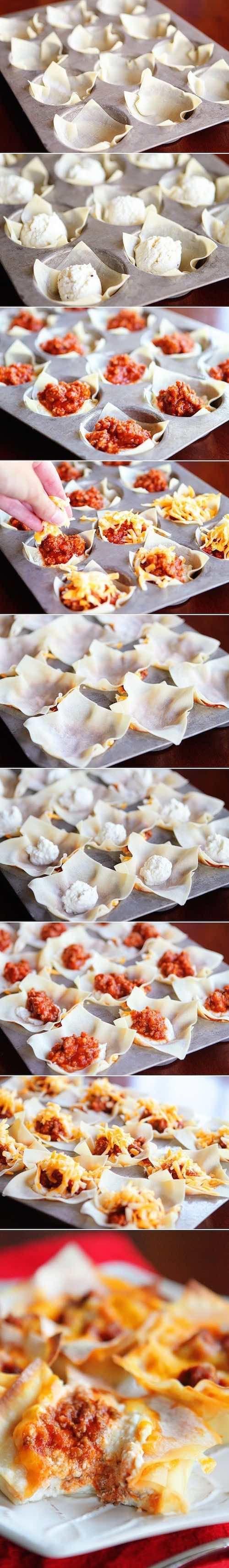 Receta de mini foods para bodas. Cómo hacer una mini lasagna. Ingredientes: bandeja para hacer muffins, envolturas de wonton, ricota, salsa de tomate y queso.