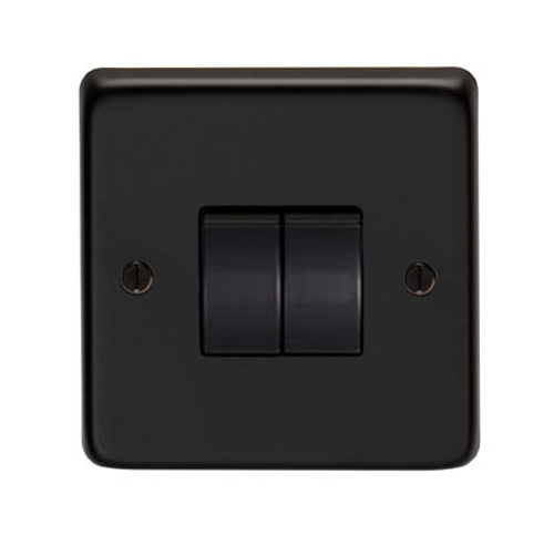 Matt Black Double Light Switch - This double light switch is a high quality product, with a matt black finish. Stylish and modern, it is equally suited to a new home as well as a period one.