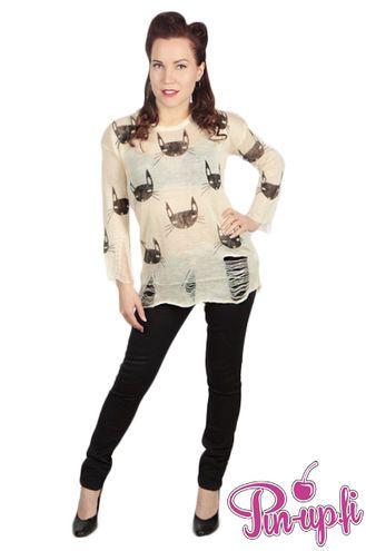 Kitty sweater whit little edgy on it!