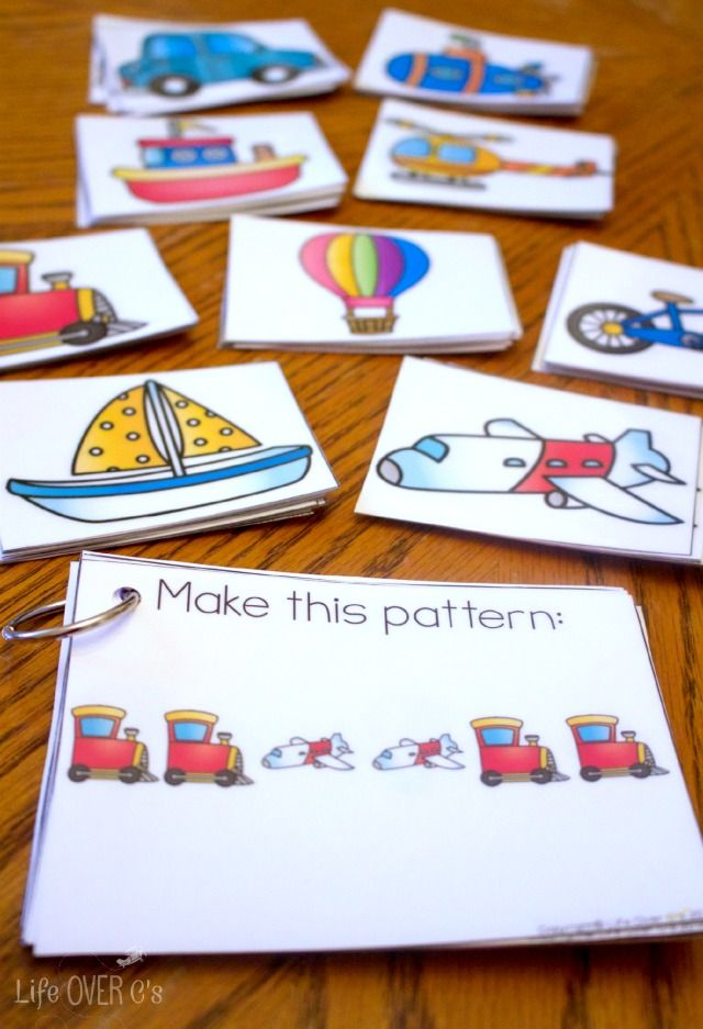 Use these transportation themed printable cards for patterns or language building! We've used them for both and they worked out great!