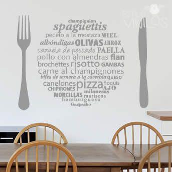 Vinilo para cocina frases para decorar paredes pinterest - Vinilos para cocina ...