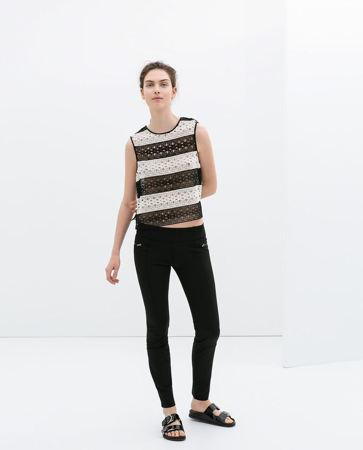 Image 1 of STRETCH LEGGINGS WITH ZIPPER from Zara