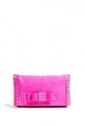 Neon pink clutch bag