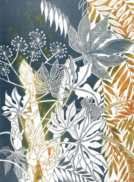 linocut leaves and flowers in cloudy blue and honey colours.