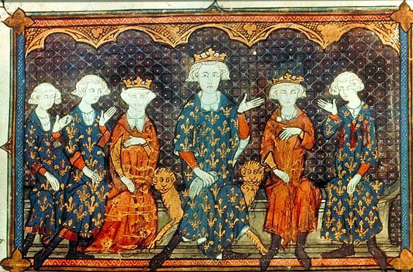 Some of the principal actors in the Tour de Nesle Affair, depicted in 1315, the year after the scandal broke: Philip IV of France (centre) and his family: l-r: his sons, Charles and Philip, his daughter Isabella, himself, his eldest son and heir Louis, and his brother, Charles of Valois (wikipedia)