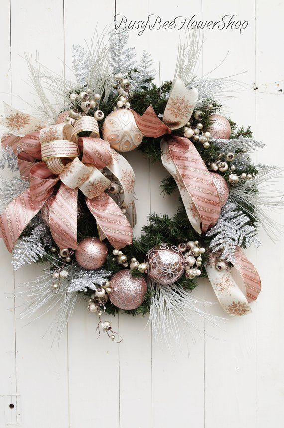 Elegant Blush Pink And Silver Evergreen Christmas Wreath For Front