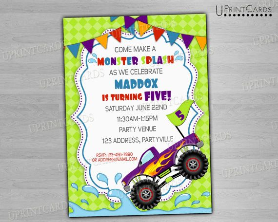 best images about monster truck pool party on   cars, party invitations