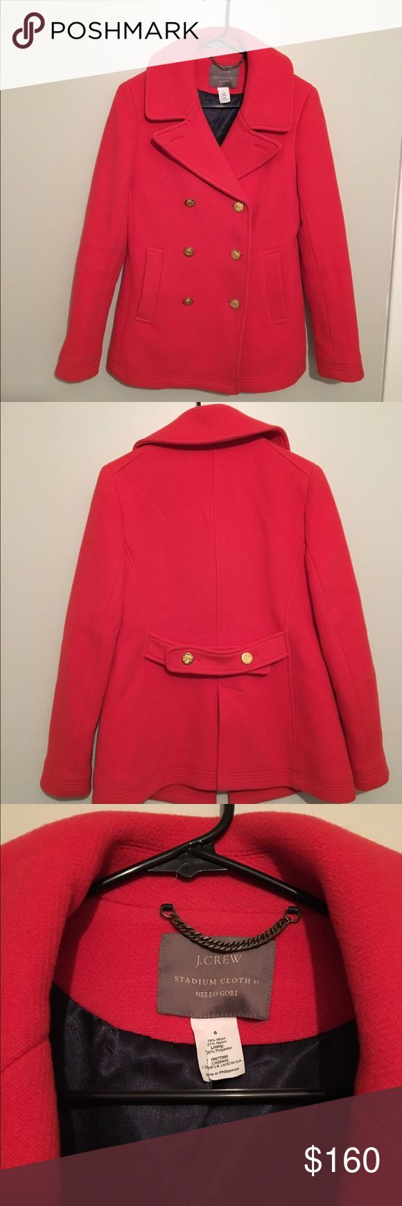 J.Crew Red Majesty Pea Coat This is an authentic J.Crew Majesty Red pea coat that I got last Christmas and have only worn once! It's in brand new condition and is a very pretty Lipstick Red. I got it for $298 so I'm letting it go for a steal. It is a size 6 and has a great arm length. J. Crew Jackets & Coats Pea Coats