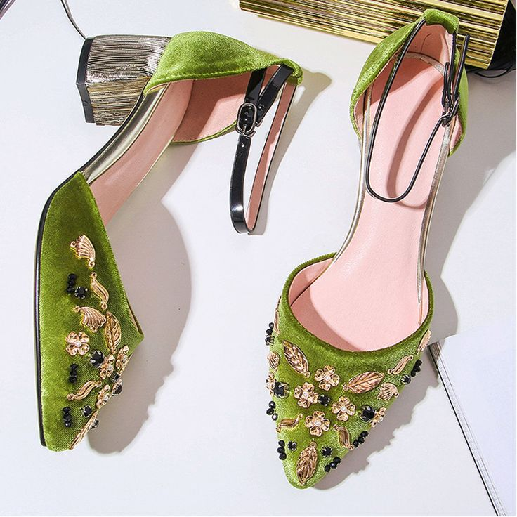 Fashion Gold Flower Leaf Pumps Women Velvet Shoes 2017 Spring Summer Mary Jane Shoes Ladies Party Wedding Shoes Zapatillas Mujer-in Women's Pumps from Shoes on Aliexpress.com | Alibaba Group