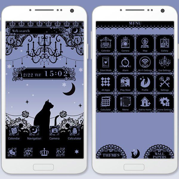 """Starry Sky, Black Cat"" 12/29 If you want a simple, beautiful theme with lace and a cat silhouette, then you can't go wrong with this! http://app.android.atm-plushome.com/app.php/app/themeDetail?material_id=1394&rf=pinterest #cute #wallpaper #love #kawaii #design #icon #girl #style #beautiful #plushome  #homescreen #widget #deco #cat"