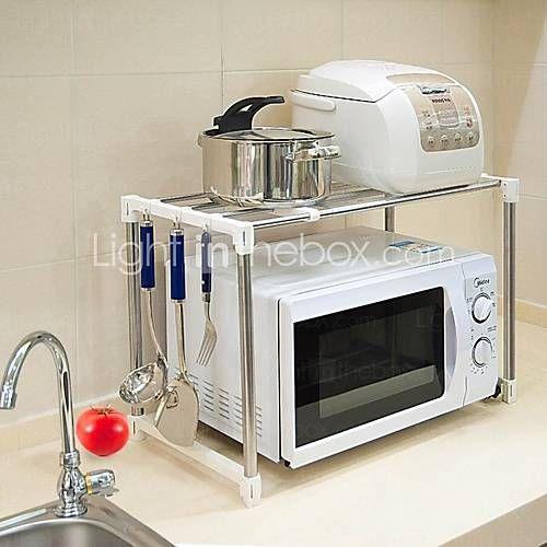 Acero inoxidable Microondas BAOYOUNI Soporte Microondas Horno autolimpiante Cocina Microondas Stand de almacenamiento en rack - USD $ 19.99