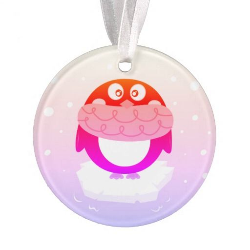 Acrylic Ornament with neon Purple Penguin
