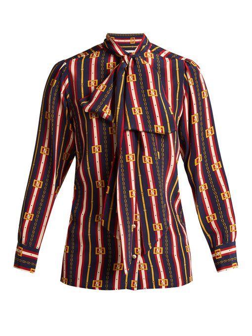 1bac73f88 GUCCI Chain-print silk shirt. #gucci #cloth # | Gucci | Gucci shirt ...