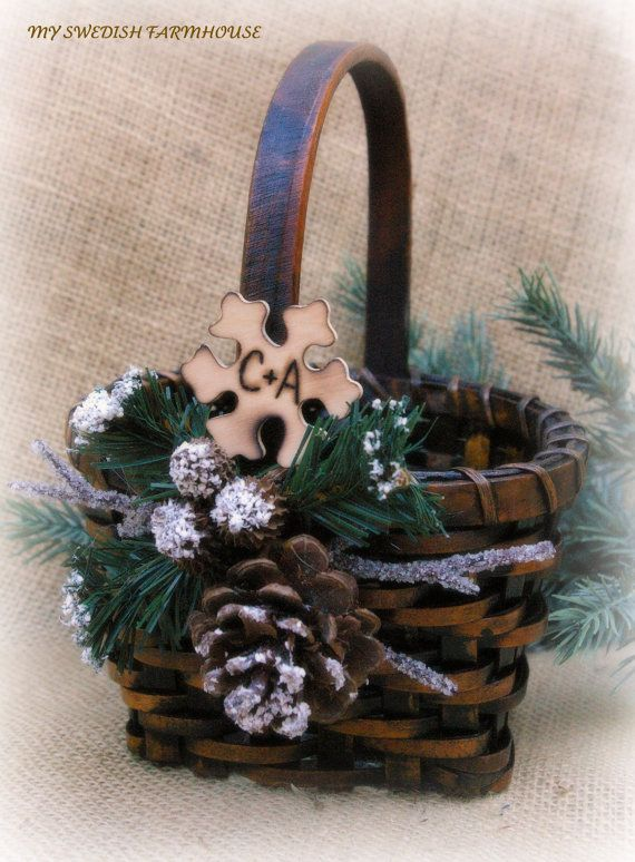 Flower Girl Basket Rustic Winter Wedding by MinSvenskaLandgard, $30.00