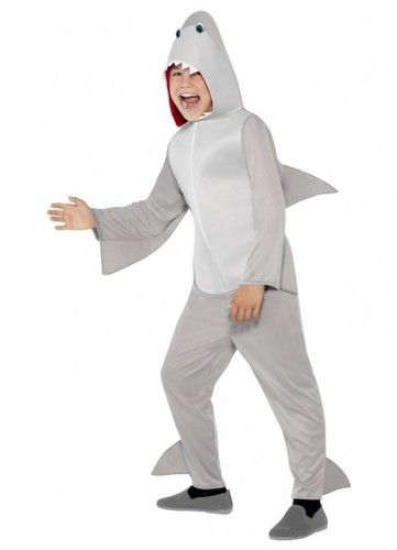 Shark Costume, Grey, All In One with Hood and Fins