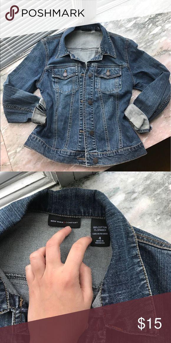 🔹 jean jackets 🔹 NY&CO women's jean jacket, medium wash, in perfect condition! Pair with white jean/shorts for a cute nautical look💙                    Size 4: small/medium New York & Company Jackets & Coats Jean Jackets