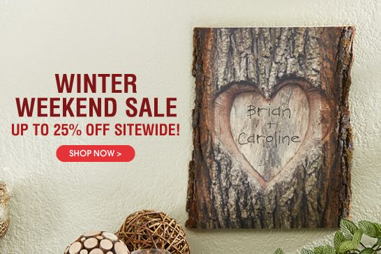 PersonalizationMall is having a huge 25% off STOREWIDE Winter Weekend Sale from 1/24-1/26. They have TONS of great personalized gifts - including wedding gifts, baby gifts and Valentine's Day gifts! #Sale #GiftSale #ValentinesDay