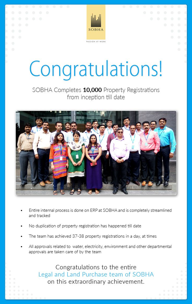 Together we can always achieve more. Congratulating the Legal and Land purchase team of #SobhaLtd on achieving this fabulous feat and raising the bar. #SobhaNCR salutes their #PassionAtWork #TeamSpirit