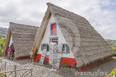 Typical old houses on Santana, Madeira island, Portugal,Europa. Side view.