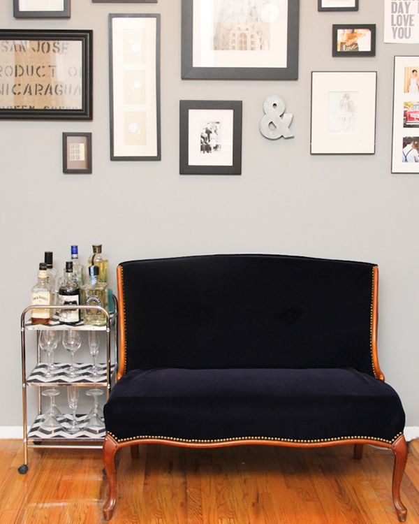 Vintage settee refurb by Lovely Indeed.  Love the bar cart too.