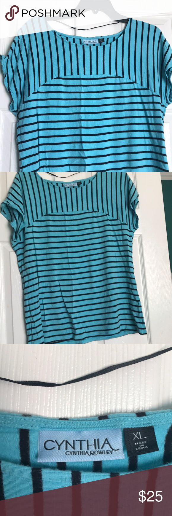 Blue with black stripes short sleeve top, XL Fantastic top!   Versatile piece that pairs well with shorts or can be worn with skirt or pants for the office! Cynthia Rowley Tops