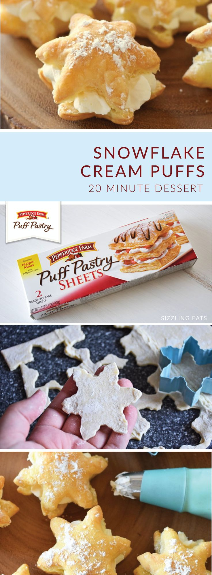 Delight your holiday guests with these 20 Minute Snowflake Cream Puffs from Amy, of Sizzling Eats. Simply use a cookie cutter to form Pepperidge Farm® Puff Pastry Sheets into the shape of a winter snowflake. Then, stuff with homemade whipped cream and top with powdered sugar to complete this festive, easy dessert recipe.