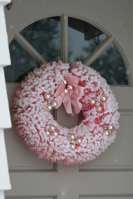 Pink bottle brush wreath to go with my trees.
