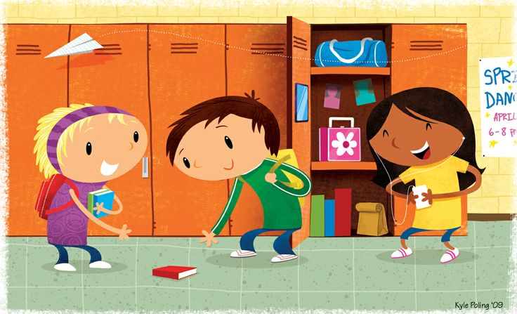 Kids by Lockers. Illustration by Kyle Poling, represented by Liz Sanders Agency. lizsanders.com