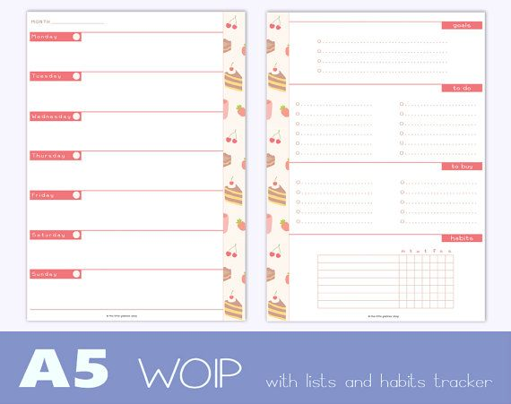 A5 size undated WO1P  weekly goals  to do di TheLittlePlannerShop