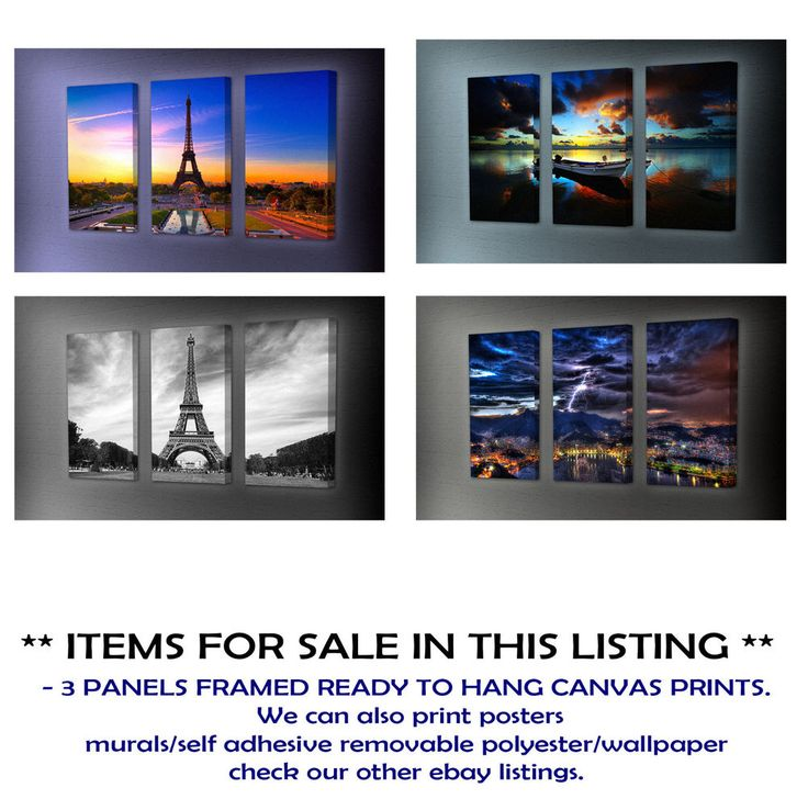 PARIS EIFFLE TOWER, BOAT, LIGHNING CANVAS PRINT FRAMED, TRIPTYCH choose size