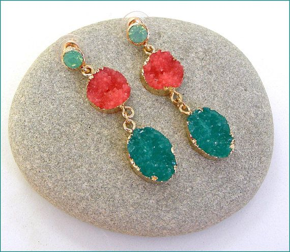 glass green/coral-pink woman earrings Boucles