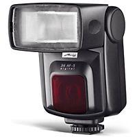 Kraftig ekstern blitz til Nikon digitale spejlreflekskameraer med ledetal 36, justerbar reflektor og zoom reflektor.