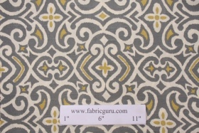 Robert Allen New Damask Printed Cotton Drapery Fabric in Greystone $16.95 per yard