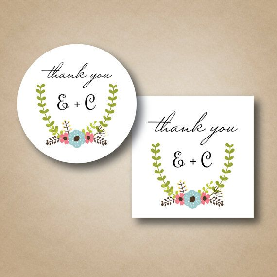 Wedding stickers thank you labels custom favor by stickemuplabels