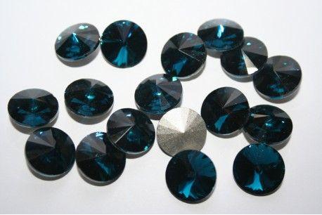 Cabochon Tondo Cristallo Blue Petrolio 14mm - 4pz