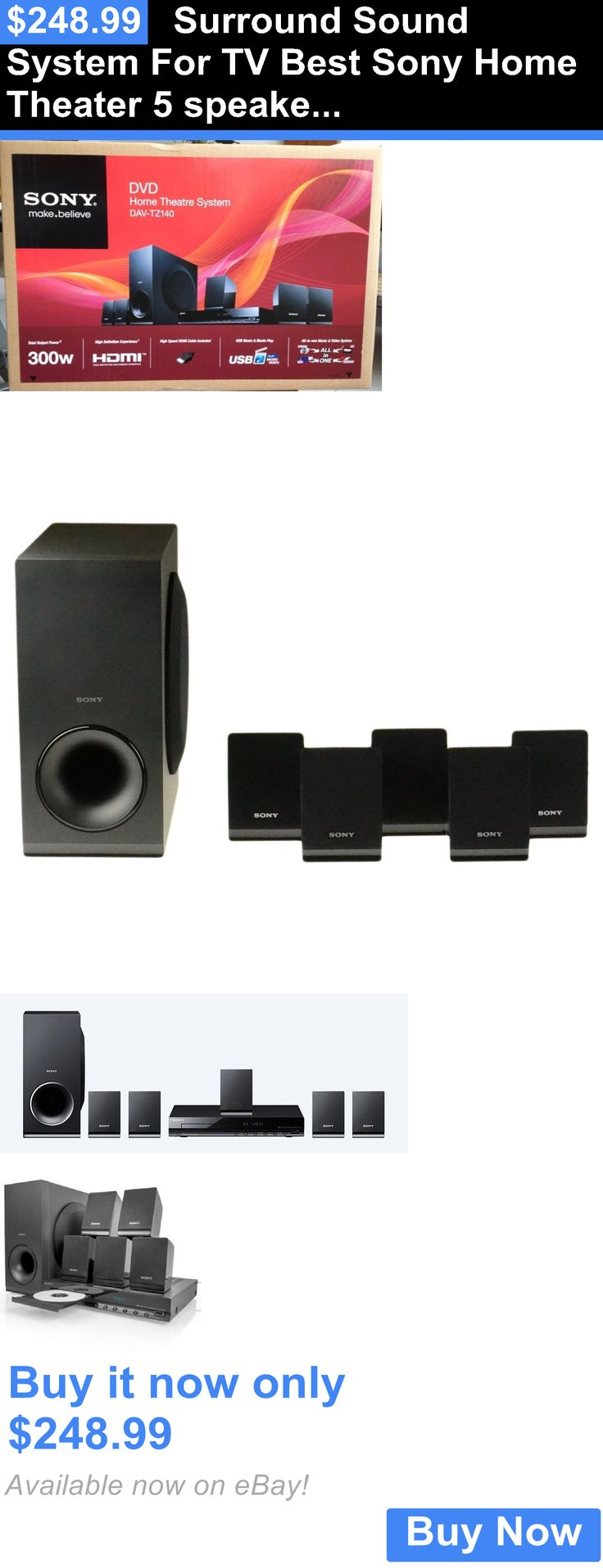 Home Theater Systems: Surround Sound System For Tv Best Sony Home Theater 5 Speakers Subwoofer 300Watt BUY IT NOW ONLY: $248.99