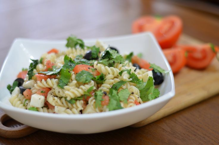 Tomato, olive, goat cheese and pasta salad